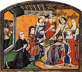 Contemporary image of Edward V and his parents, Edward IV and Elizabeth Woodville