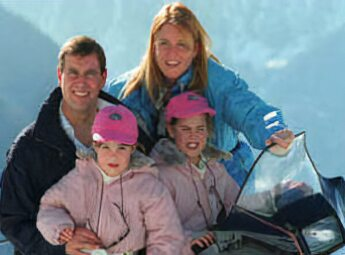 Beatrice and Eugenie on holiday with their parents