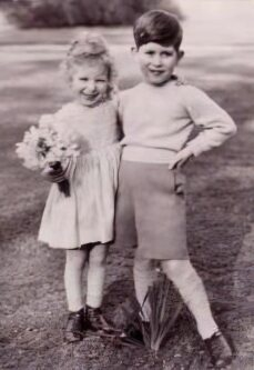 The young Prince Charles with his sister Anne